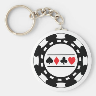 Black Casino Chip Keychain