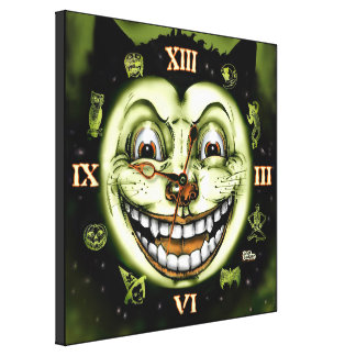 Black Cat 13 Clock Halloween Canvas Print