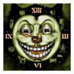 Black Cat 13 Clock Vintage Halloween Poster