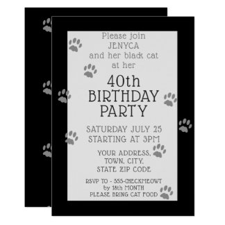 Black Cat 40th Birthday Party Invitation