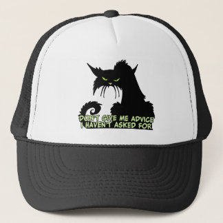 Black Cat Advice Saying Trucker Hat