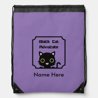 Black Cat Advocate Drawstring Bag