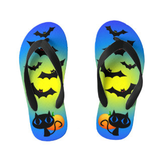 Black Cat and Bats on Blue Kid's Thongs