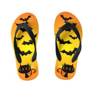 Black Cat and Bats on Orange Kid's Thongs