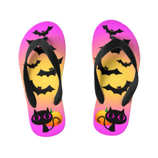 Black Cat and Bats on Pink Kid's Thongs