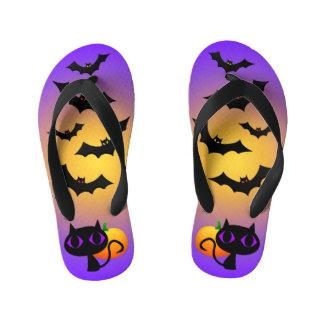 Black Cat and Bats on Purple Kid's Thongs