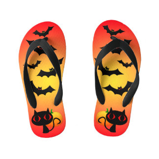 Black Cat and Bats on Red Kid's Thongs