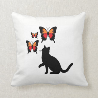 Black Cat And Butterflies Pillow