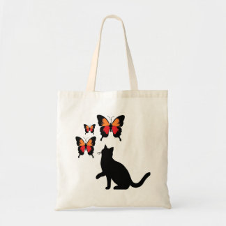 Black Cat And Butterflies Tote Bag