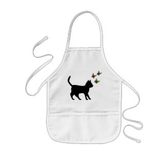 Black Cat and Butterfly Kids Apron