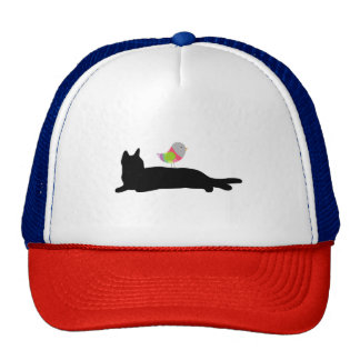 Black Cat and Colorful Bird Trucker Hat