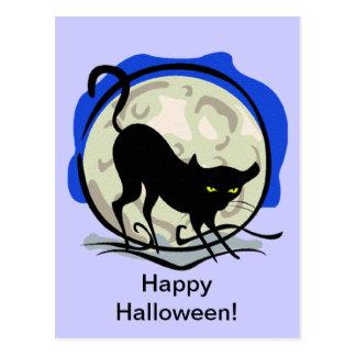 Black Cat and Full Moon Postcard