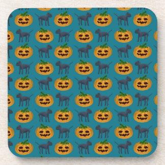 Black Cat and Halloween Pumpkin Pattern Coasters
