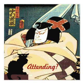 Black Cat and Japanese Man,  Attending? Card