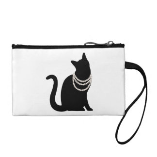 Black cat and jewel key coin clutch change purse