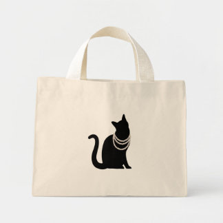 Black cat and jewel konpakutototo mini tote bag