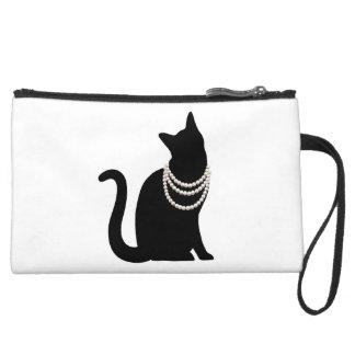 Black cat and jewel suede mini- clutch bag wristlet