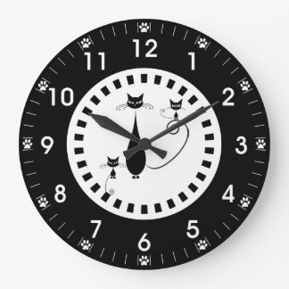 Black Cat and Kittens with Paw Prints Large Clock