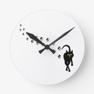 Black Cat and Pawprints Round Clock
