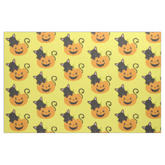 Black Cat and Pumpkin Fabric