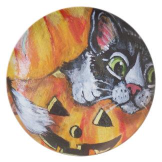 Black Cat and Pumpkin Halloween Melamine Plate