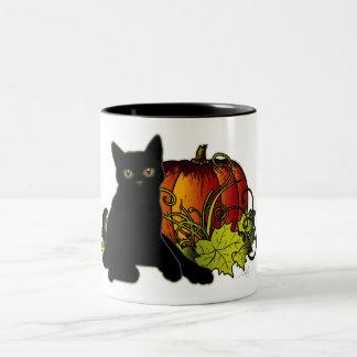 Black Cat and Pumpkin Two-Tone Coffee Mug