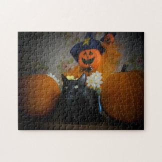 Black Cat and scarecrow or make your own. Jigsaw Puzzle