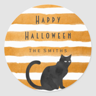 Black cat and stripes stickers