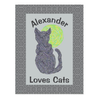 Black Cat And The Moon Cat Lover Feline Kitten Postcard
