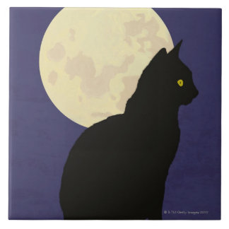 Black Cat and the Moon Ceramic Tile