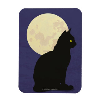 Black Cat and the Moon Rectangular Photo Magnet