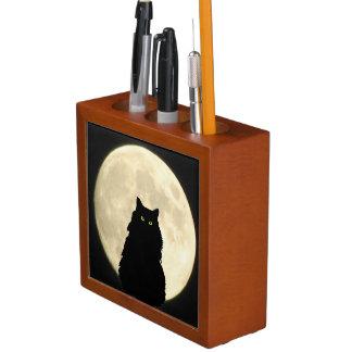 Black Cat and White Moon Desk Organiser