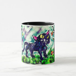 black cat art mug