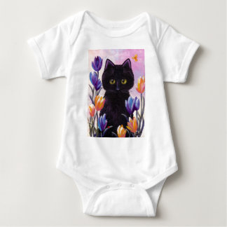 Black Cat Art Tulips Flowers Pink Creationarts Baby Bodysuit
