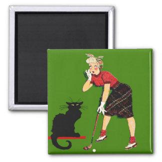 Black Cat At Golf Square Magnet