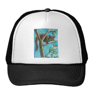 BLACK CAT AT NIGHT IN A TREE MESH HATS