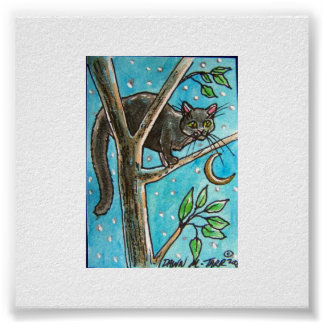 BLACK CAT AT NIGHT IN A TREE POSTER