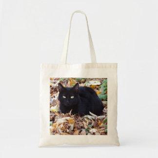 Black cat Autumn leaves Budget Tote