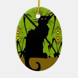 black cat bamboo ceramic oval decoration