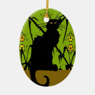 black cat bamboo Double-Sided oval ceramic christmas ornament