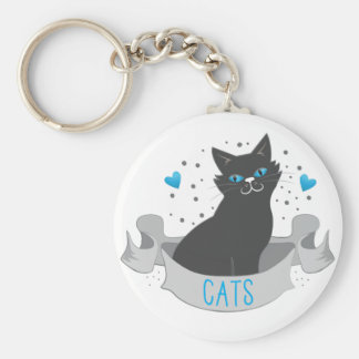 Black cat banner basic round button key ring