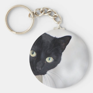 Black Cat Basic Round Button Key Ring