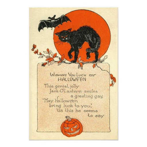 Black Cat Bat Full Moon Fall Leaves Photographic Print