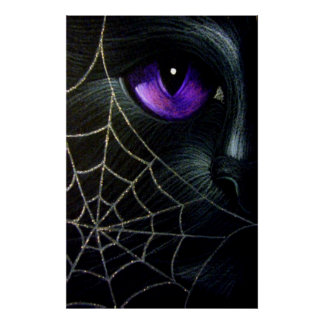BLACK CAT BEHIND THE SPIDER WEB PRINT POSTER