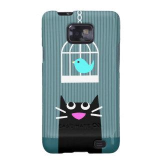 Black Cat & Blue Bird Galaxy S2 Cover