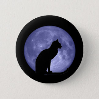 Black Cat Blue Moon Button Pin