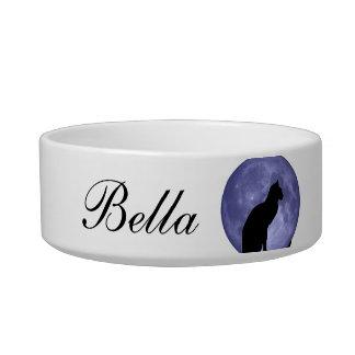 Black Cat Blue Moon custom name pet bowl