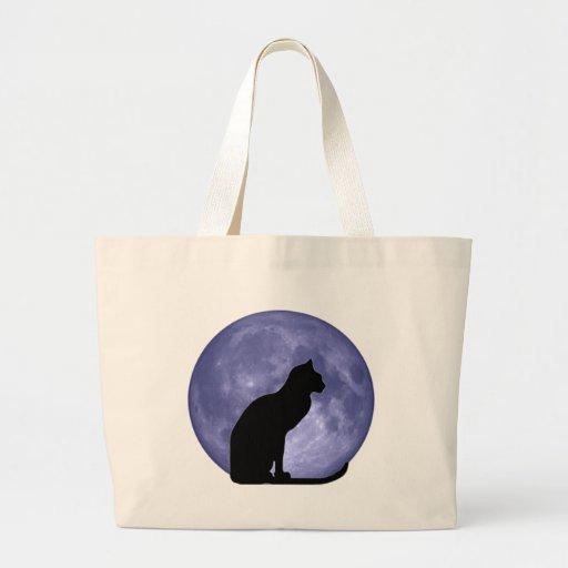 Black Cat, Blue Moon Jumbo Tote Bag