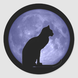 Black Cat Blue Moon Round Stickers