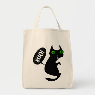 """Black Cat - Boo!"" Halloween Tote Bag"